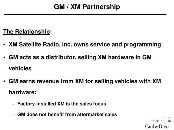 GM / XM Partnership