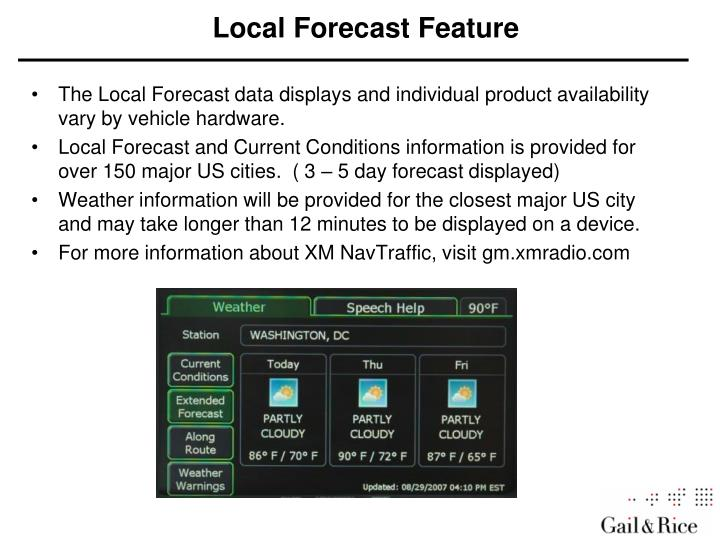 Local Forecast Feature