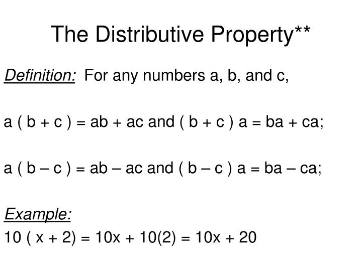 Ppt 1 7 The Distributive Property Powerpoint Presentation Id3112728