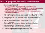hl7 uk purpose activities relationships