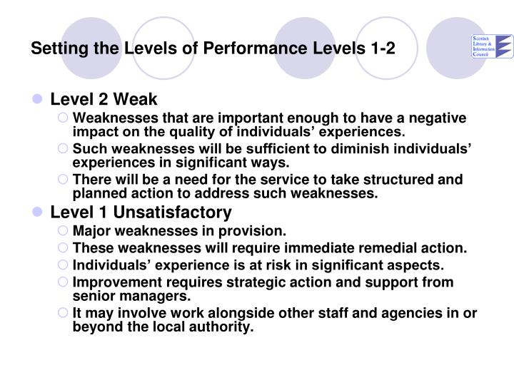 Setting the Levels of Performance Levels 1-2
