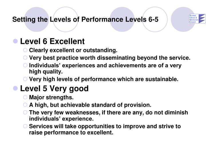 Setting the Levels of Performance Levels 6-5