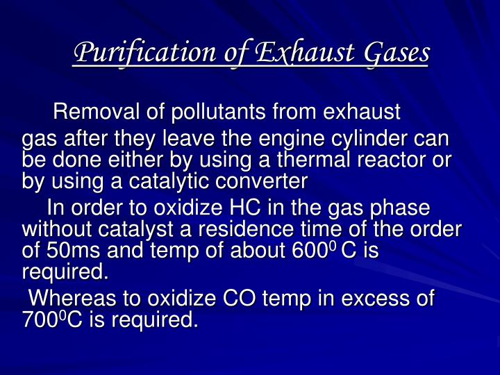 purification of exhaust gases n.