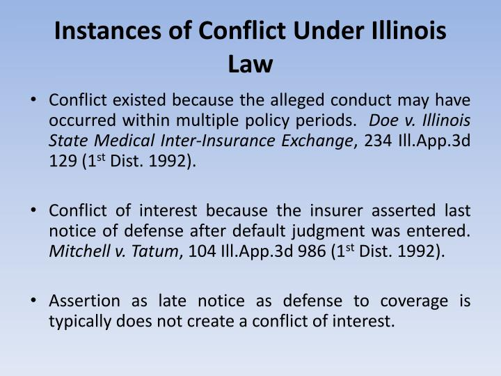 Instances of Conflict Under Illinois Law