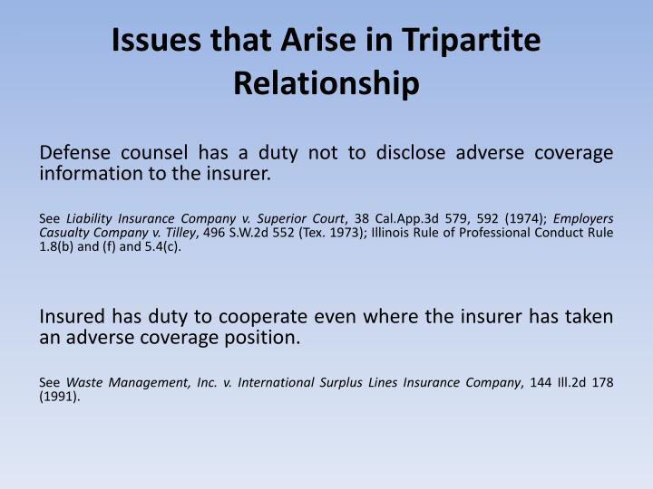 Issues that Arise in Tripartite Relationship
