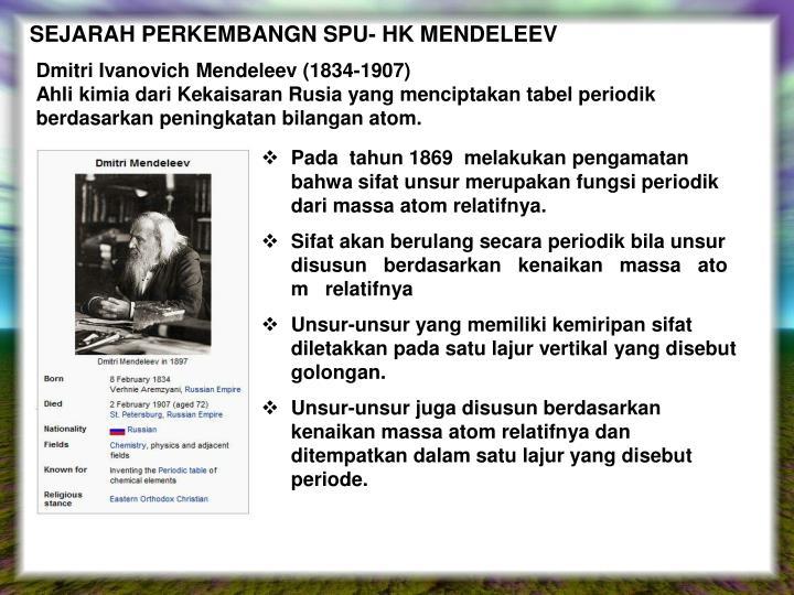 SEJARAH PERKEMBANGN SPU- HK MENDELEEV