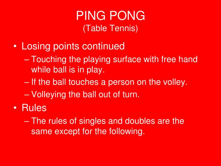 Ppt ping pong table tennis powerpoint presentation for Table tennis serving rules