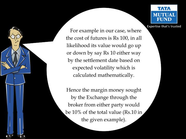 For example in our case, where the cost of futures is Rs 100, in all likelihood its value would go up or down by say Rs 10 either way by the settlement date based on expected volatility which is calculated mathematically.