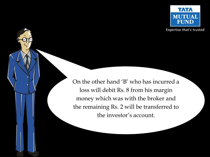 On the other hand 'B' who has incurred a loss will debit Rs. 8 from his margin money which was with the broker and the remaining Rs. 2 will be transferred to the investor's account.