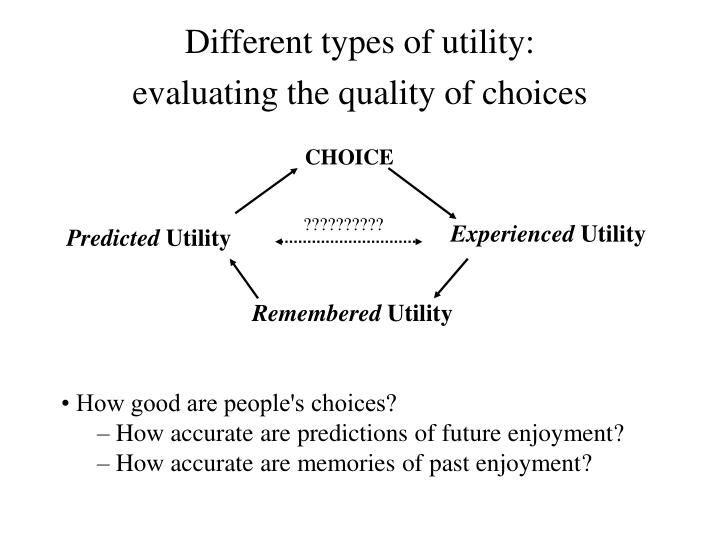 Different types of utility:
