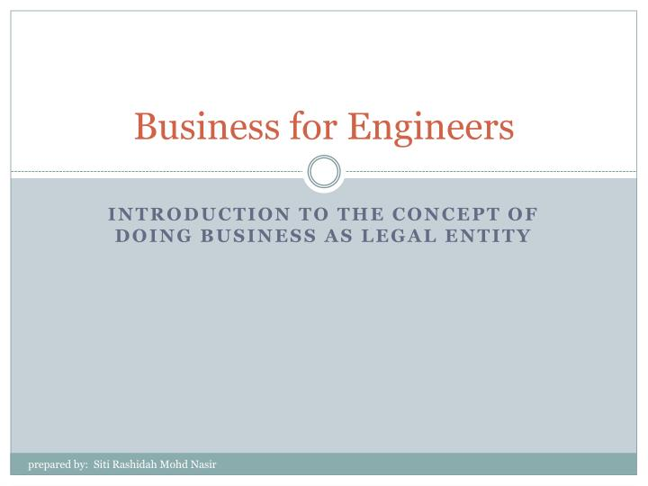 business for engineers n.