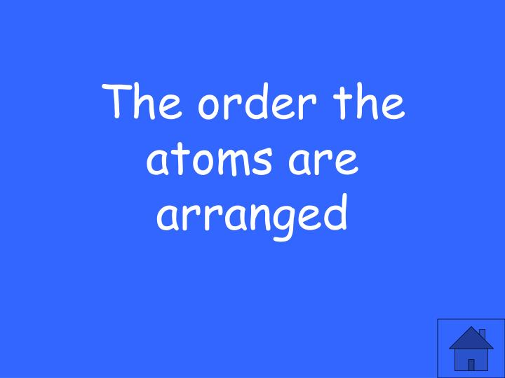 The order the atoms are arranged