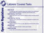 laborers covered tasks