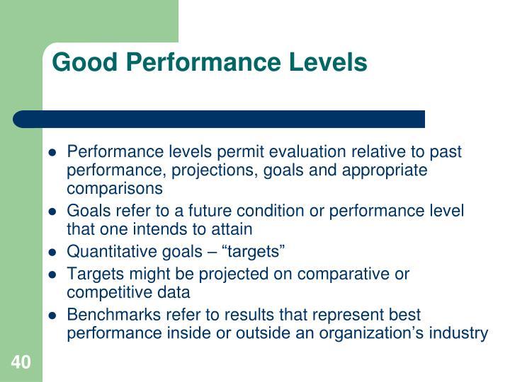 Good Performance Levels