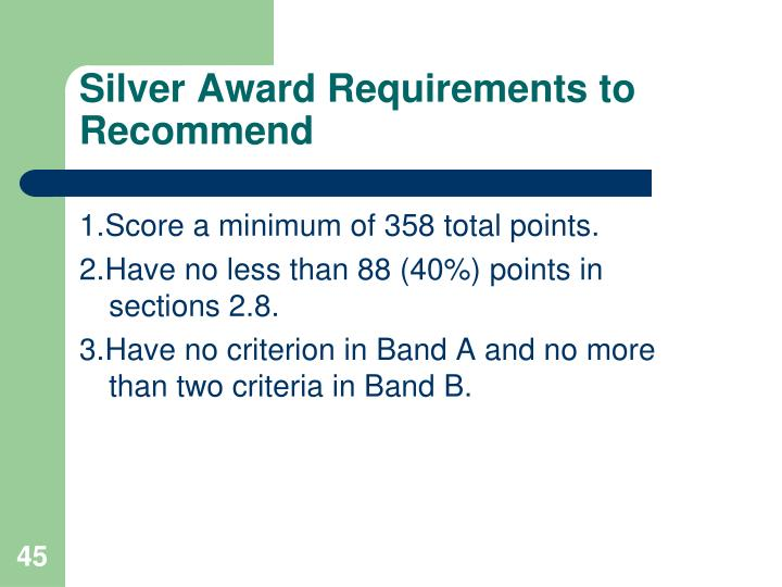 Silver Award Requirements to Recommend