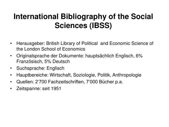 International Bibliography of the Social Sciences (IBSS)