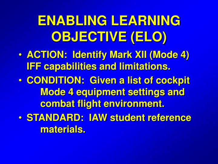 enabling learning objective elo n.