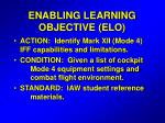 enabling learning objective elo