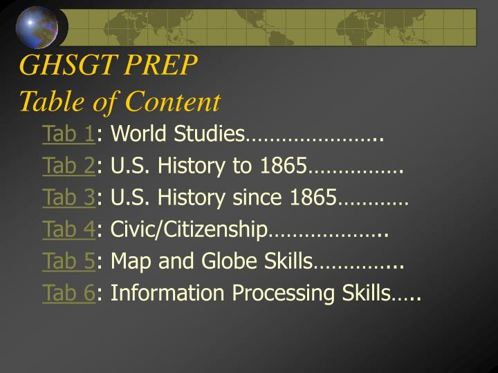 ghsgt prep table of content n.