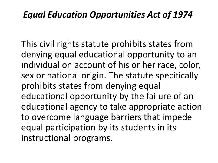 equal education essay Equal opportunity in education research papers discuss education for disabled students since the days of brown v the board of education this is a topic suggestion on equal opportunity in education from paper masters.