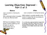 learning objectives improved part 2 of 2