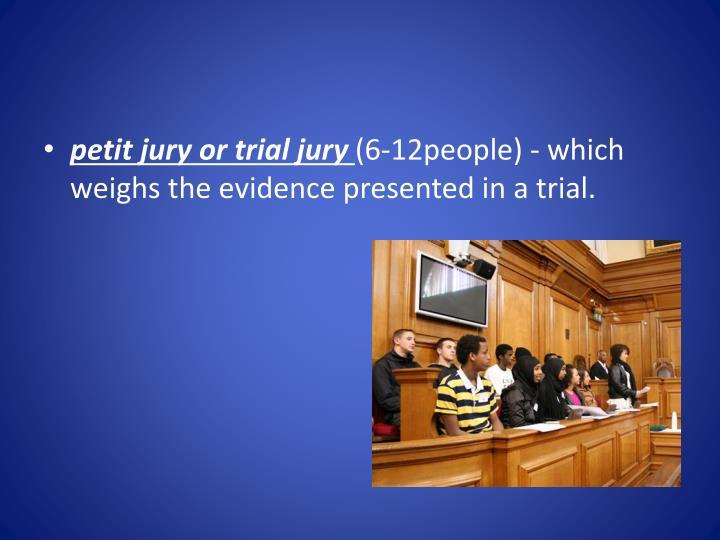 petit jury or trial jury