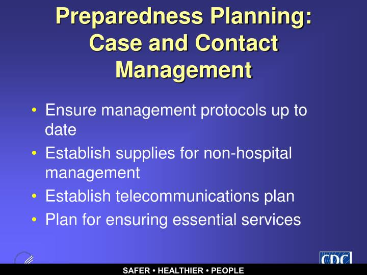 Preparedness Planning: Case and Contact Management