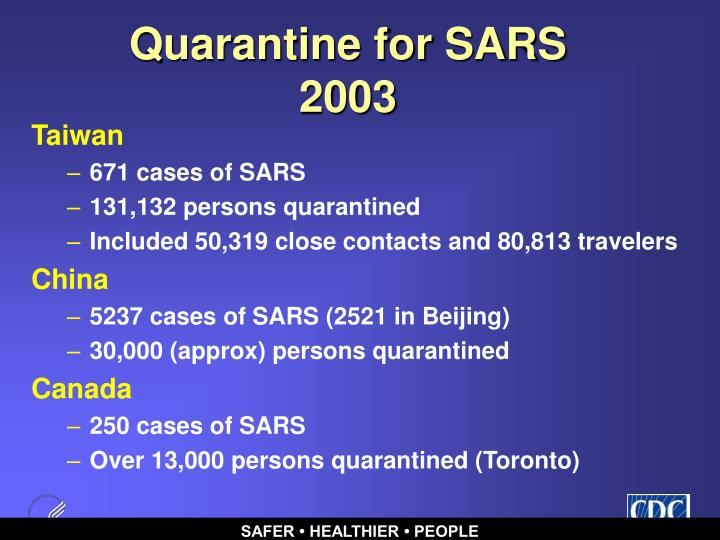 Quarantine for SARS 2003