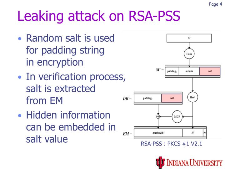 Leaking attack on RSA-PSS