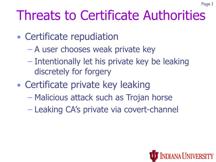 Threats to Certificate Authorities