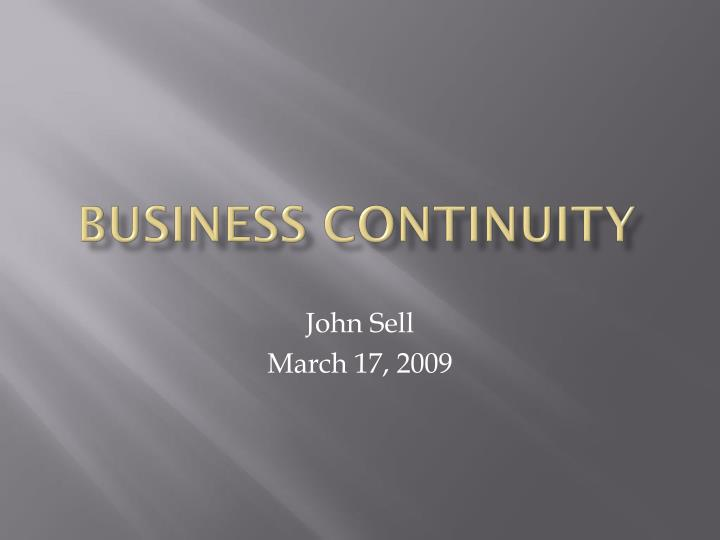 business continuity n.