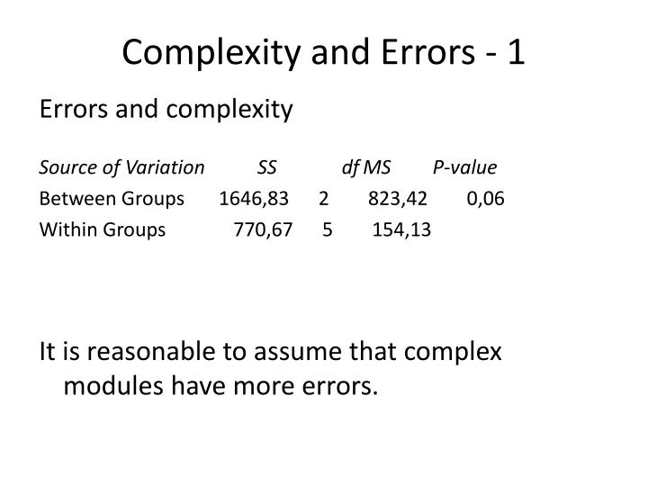 Complexity and Errors - 1
