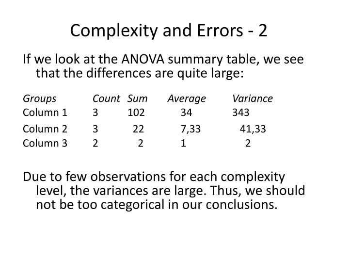 Complexity and Errors - 2