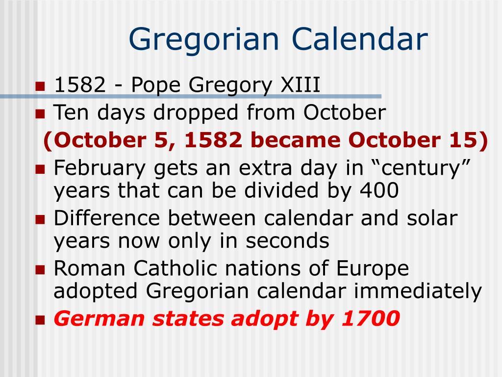 PPT - Gregorian Calendar PowerPoint Presentation - ID:3114460