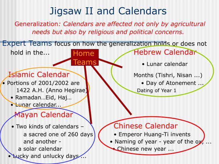 Jigsaw II and Calendars