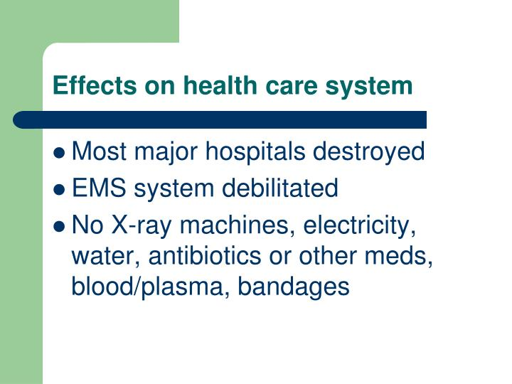 Effects on health care system