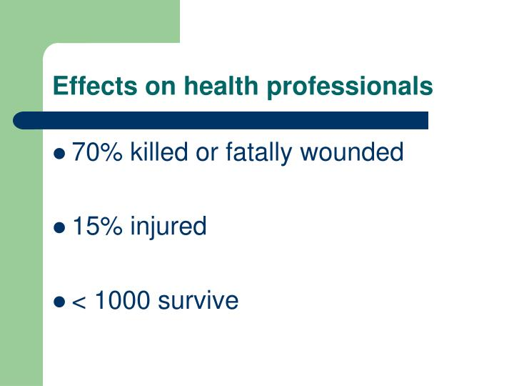 Effects on health professionals