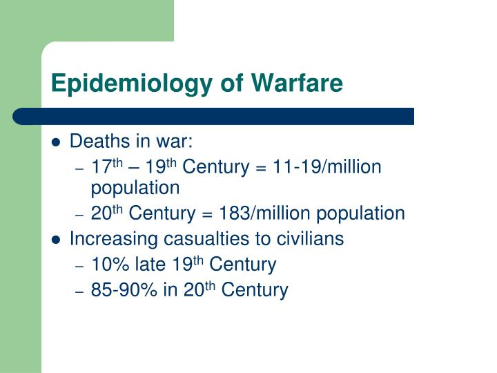 Epidemiology of Warfare