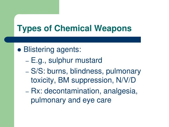 Types of Chemical Weapons