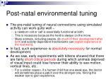 post natal environmental tuning