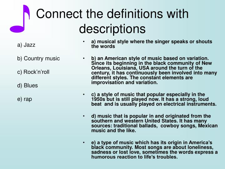 a) musical style where the singer speaks or shouts the words
