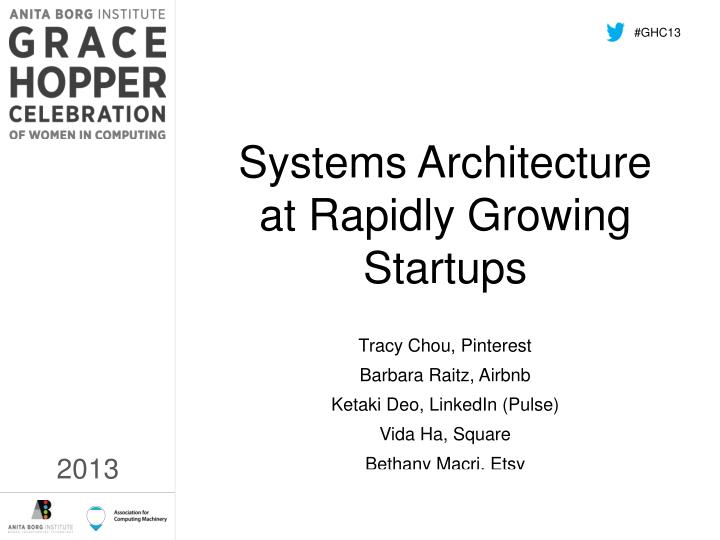 systems architecture at rapidly growing startups n.