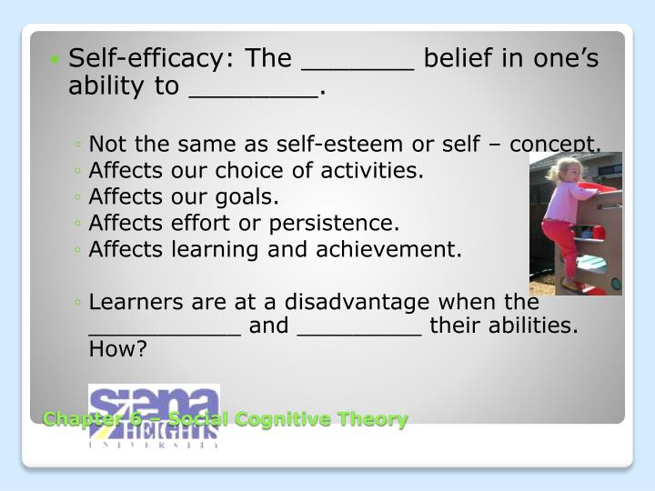 Self-efficacy: The _______ belief in one's ability to ________.