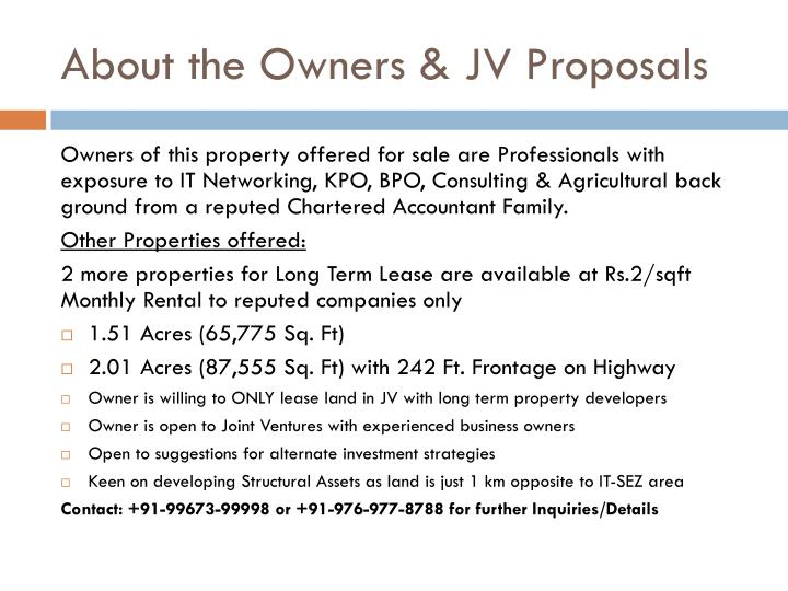 About the Owners & JV Proposals