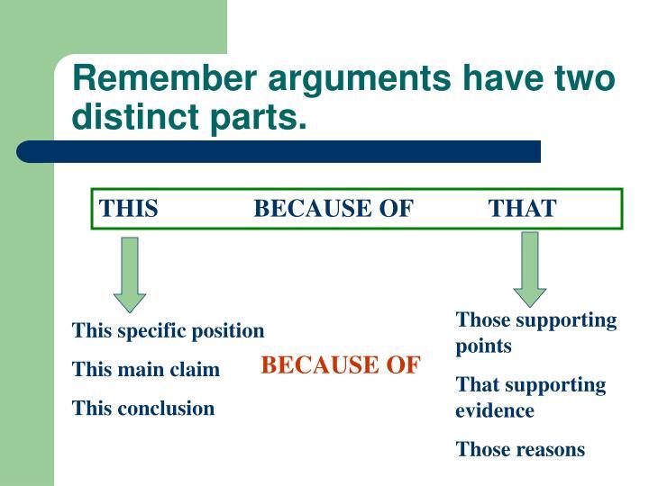 Remember arguments have two distinct parts.