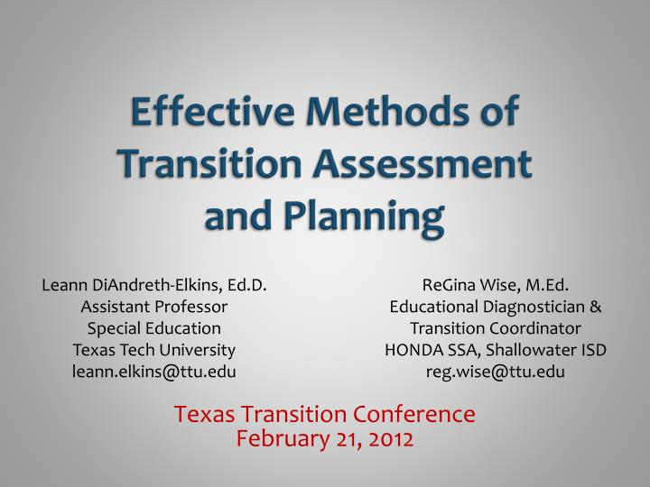 effective methods of transition assessment and planning n.