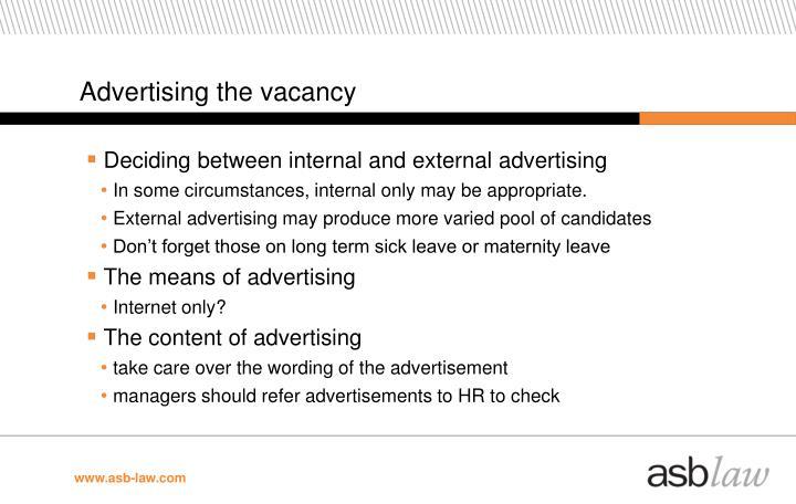 Advertising the vacancy