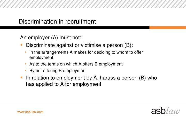 Discrimination in recruitment