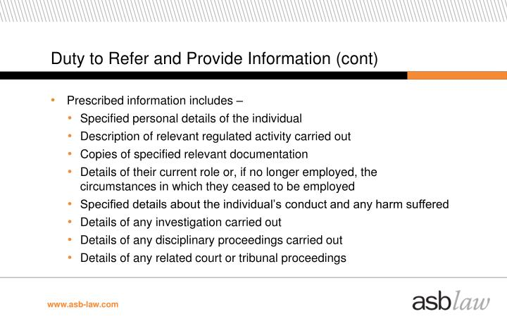 Duty to Refer and Provide Information (cont)