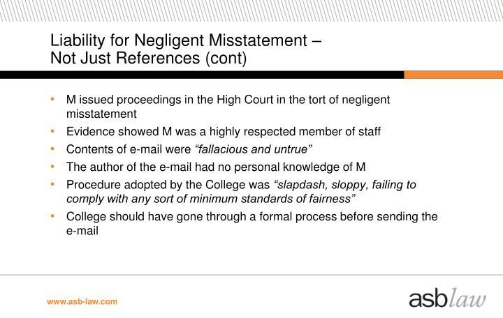 Liability for Negligent Misstatement –